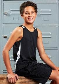Kids Bizcool Flash Singlet  - Snag Resistant
